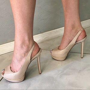 Aldo nude platform patent leather slingback heels